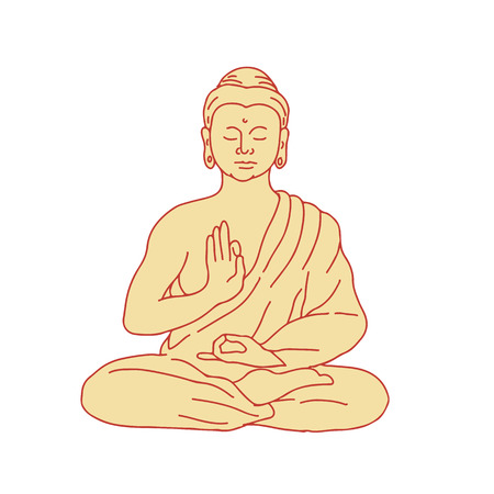 Drawing sketch style illustration of Gautama Buddha, Siddhartha Gautama or Shakyamuni Buddha sitting in lotus position viewed from front on isolated background. Ilustração