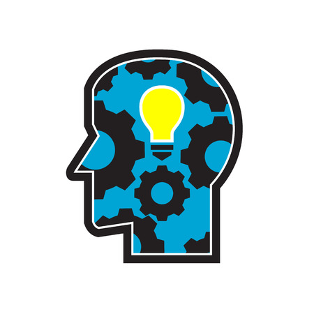 Icon retro style illustration of a human head with glowing light bulb and mechanical gear or cog turning viewed from side view on isolated background.