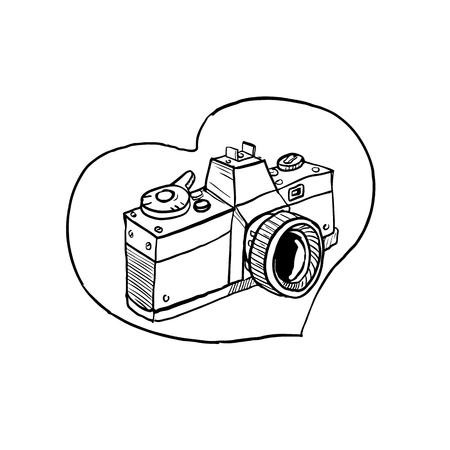 Drawing sketch style illustration of a vintage 35mm slr camera set inside heart shape on isolated background. Illustration