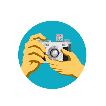 Retro style illustration of a pair of hands holding a retro vintage 35mm film camera clicking taking a photo front view on isolated background.