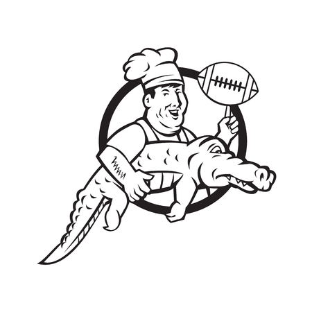 Mascot icon illustration of a chef or cook twirling an American football ball while carrying a gator or alligator set inside circle in black and white on isolated background in retro style.