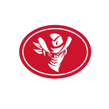 Icona della mascotte illustrazione della testa di un cowboy fuorilegge o bandito visto dal set anteriore all'interno di forma ovale su sfondo isolato in stile retrò.