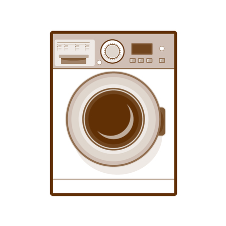 Retro style illustration of a  front loading washing machine in washing mode on isolated background. Illustration