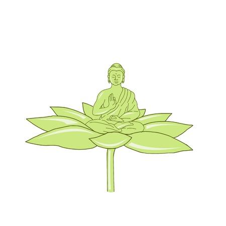Drawing sketch style illustration of  Gautama Buddha,Siddhartha Gautama or Shakyamuni Buddha or simply the Buddha sitting on lotus flower on isolated background.