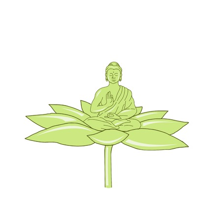 Drawing sketch style illustration of  Gautama Buddha,Siddhartha Gautama or Shakyamuni Buddha or simply the Buddha sitting on lotus flower on isolated background.