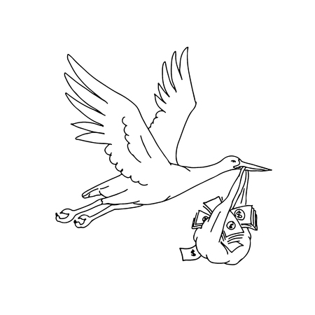 Drawing sketch style illustration of a stork, crane, heron or ibis, a large, long-legged, long-necked wading bird with long, stork bill carrying or delivering a money bag while flying. 일러스트