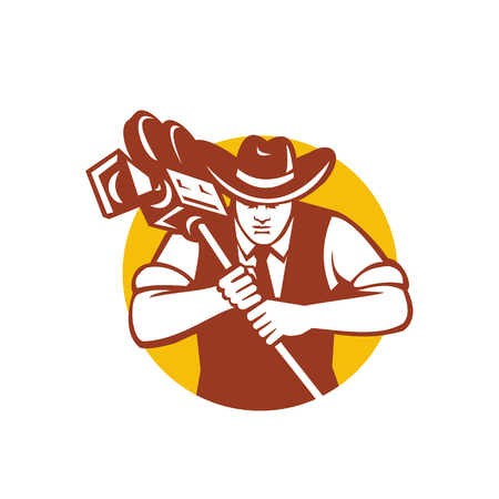 Mascot icon illustration of a cowboy cameraman wearing hat and holding a vintage movie film camera viewed from front set in circle on isolated background in retro style.