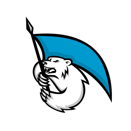 Mascot icon illustration of an angry polar bear brandshing a blue flag viewed from  side on isolated background in retro style.