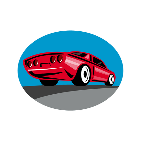 Retro style illustration of an American muscle car speeding on highway viewed from rear in low angle on isolated background.