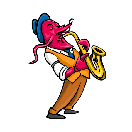 Mascot icon illustration of a crayfish,crawfish, crawdads, freshwater lobsters, mountain lobsters, mudbugs or yabbies playing the saxophone side view isolated background in retro style.