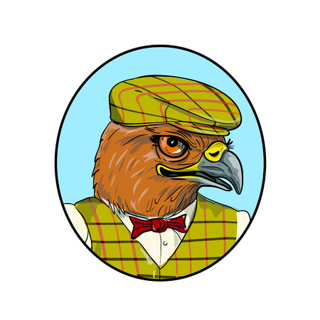 Drawing sketch style illustration of head of a hawk or falcon outdoorsman or hunter  wearing a flat cap or bunnet and vest looking to side set inside oval on isolated white background.