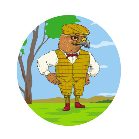 Drawing sketch style illustration of a hawk or falcon outdoorsman or hunter  wearing a flat cap or bunnet and vest looking with hand on hips inside oval on isolated white background. Illustration