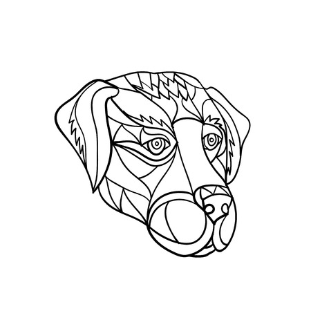 Mosaic low polygon style illustration of a labrador or golden retriever dog head looking to side on isolated white background in black and white.