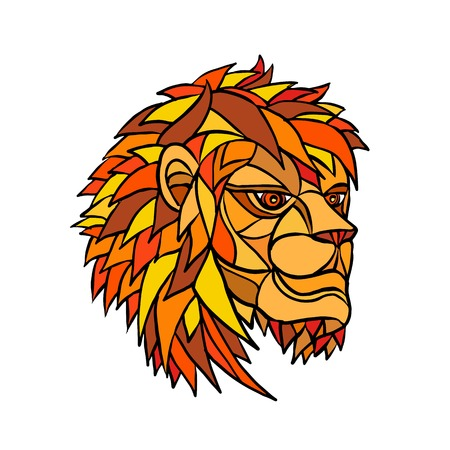 Low polygon or mosaic style illustration of a head of an adult male lion with full mane looking to side on isolated background. Illustration