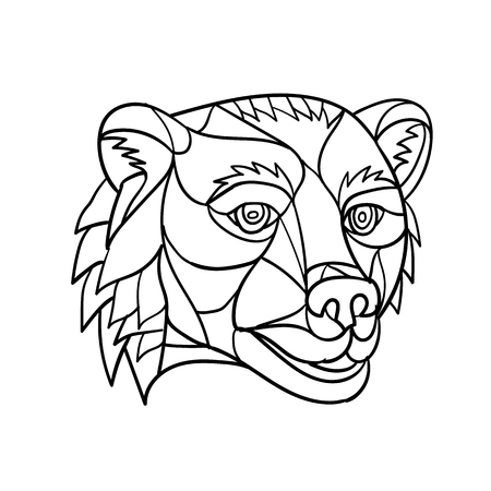 Low polygon mosaic style illustration of a grizzly bear or brown bear head on isolated background in black and white. Illustration