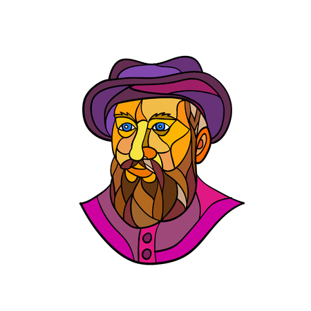 Mosaic low polygon style illustration of an old Spanish or Portuguese explorer or naval officer, Ferdinand Magellan wearing a hat and beard on isolated white background in black and white. 일러스트
