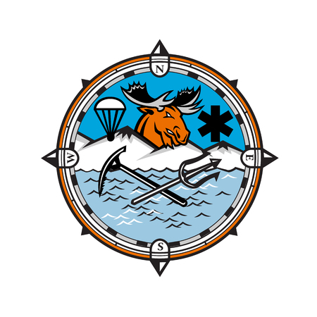 Mascot icon illustration of head of a moose with parachute and star of life symbol and crossed trident and ice axe set inside compass symbolizing pararescue land, sea and air emergency rescue. Stockfoto - 110955752