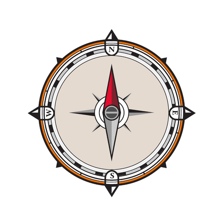 Icon retro style illustration of a vintage compass with north, west, south, east pointers on isolated background.