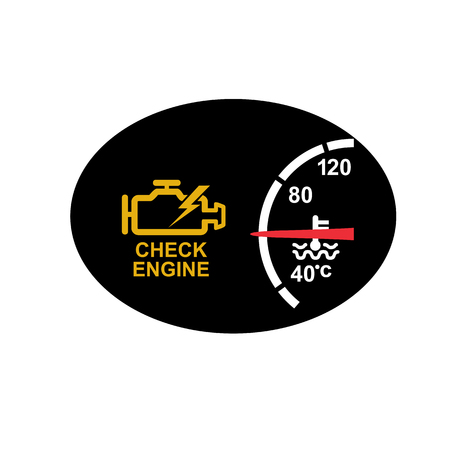 Icon retro style illustration of a dashboard with check engine sign or symbol warning  and temperature gauge on black oval on isolated background.