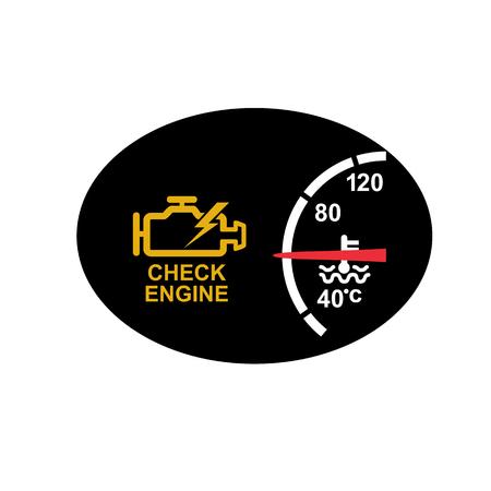 Illustration de style rétro d'icône d'un tableau de bord avec signe de moteur de contrôle ou avertissement de symbole et jauge de température sur ovale noir sur fond isolé. Vecteurs