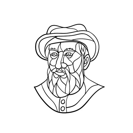 Mosaic low polygon style illustration of an old Spanish or Portuguese explorer or naval officer, Ferdinand Magellan wearing a hat and beard on isolated white background in black and white. Illustration
