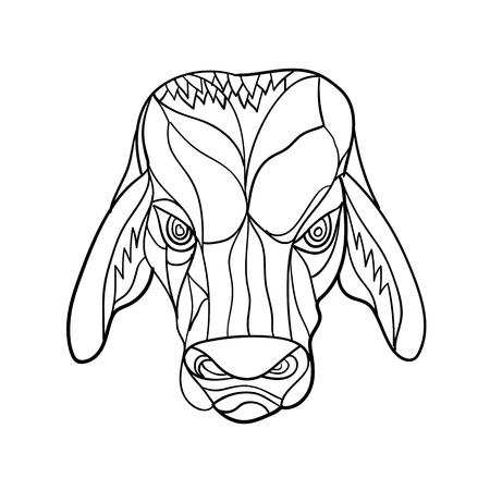 Mosaic low polygon style illustration of a brahma bulll head viewed from front on isolated white background done in black and white. Illustration