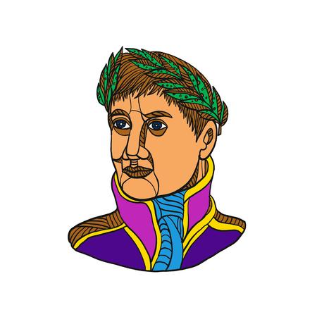 Mono line illustration of Emperor Napoleon Bonaparte wearing laurel leaf on head looking to side done in color monoline style.