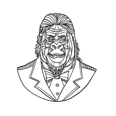 Mono line illustration of bust of a gorilla or ape wearing tuxedo jacket coat and tie suit viewed from front done in black and white monoline style.
