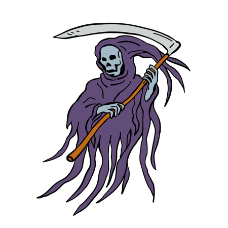 Drawing sketch style illustration of the evil grim reaper or death with scythe and torn hood  on isolated white background. Illustration