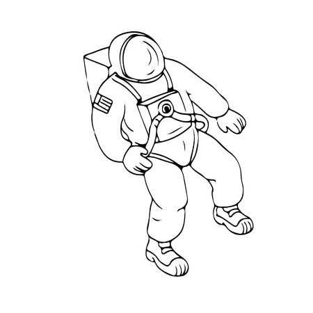 Drawing sketch style illustration of an astronaut, cosmonaut or spaceman floating in space on isolated white background.