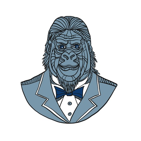 Mono line illustration of bust of a gorilla or ape wearing tuxedo jacket coat and tie suit viewed from front done in color monoline style. Фото со стока - 110955769