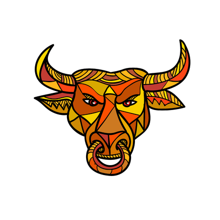 Mosaic low polygon style illustration of a Texas longhorn bull with nose ring viewed from front on isolated white background in color. Stockfoto - 111186448