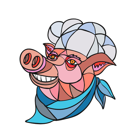 Mosaic low polygon style illustration of head of a pig pork wearing cook, baker, chef hat looking up on isolated white background in color.