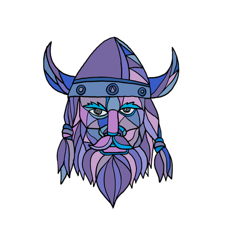 Mosaic low polygon style illustration of head of a viking, norseman or barbarian viewed from front on isolated white background in color.