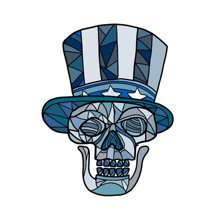 Mosaic low polygon style illustration of head of a skull of Uncle Sam mascot wearing an American stars and stripes top hat viewed from front on isolated white background in color. Stock Vector - 111186452