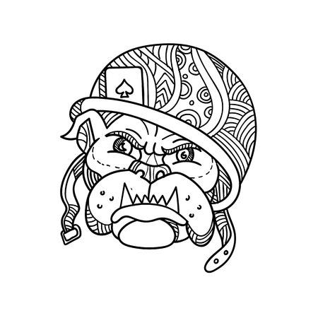 Mono line illustration of head of an American soldier bulldog wearing a helmet with playing ace of spade card done in monoline style. Illustration