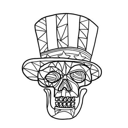 Mosaic low polygon style illustration of head of a skull of Uncle Sam mascot wearing an American stars and stripes top hat viewed from front on isolated white background in black and white. Illustration