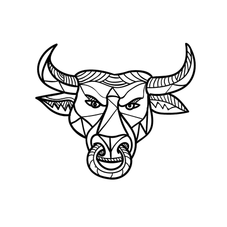 Mosaic low polygon style illustration of a Texas longhorn bull with nose ring viewed from front on isolated white background in color.