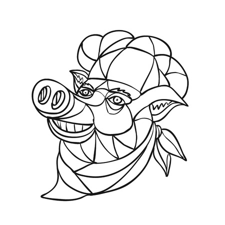 Mosaic low polygon style illustration of head of a pig pork wearing cook, baker, chef hat looking up on isolated white background in black and white.
