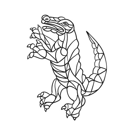 Mosaic style illustration of an alligator, gator, croc or crocodile prancing standing upright viewed from side on isolated background in Black and White.