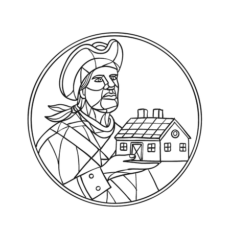 Mosaic style illustration of an American patriot holding up a residential house or home set inside circle on isolated background in Black and White ,