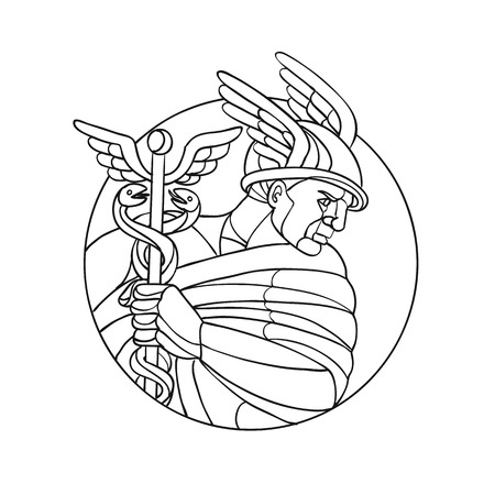 Mosaic low polygon style illustration of Mercury, Roman god of shopkeepers, merchants, travelers, transporters  thieves and tricksters or in Greek mythology, messenger of gods black and white.