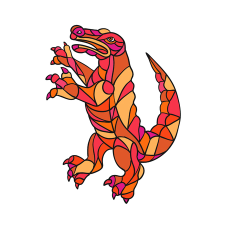 Mosaic style illustration of an alligator, gator, croc or crocodile prancing standing upright viewed from side on isolated background in color. Illustration