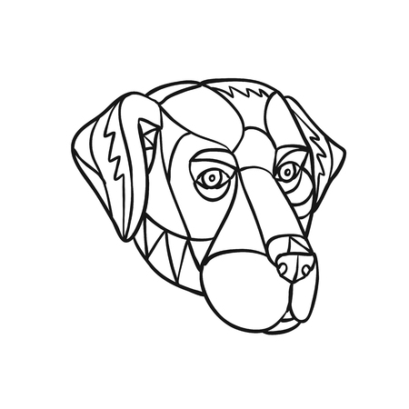 Mosaic low polygon style illustration of head of a black lab, labrador retriever, or retriever-gun dog on isolated white background in Black and White. Illustration
