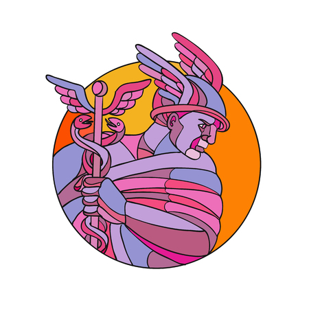 Mosaic low polygon style illustration of Mercury, Roman god of shopkeepers, merchants, travelers, transporters  thieves and tricksters or in Greek mythology, messenger of gods color.