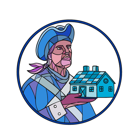 Mosaic style illustration of an American patriot holding up a residential house or home set inside circle on isolated background in color.