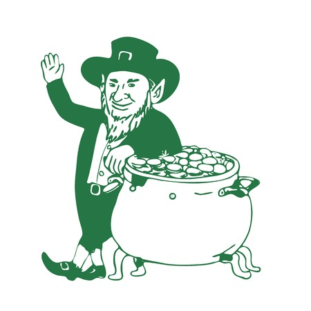 Illustration graphics showing a drawing of a green Irish Leprechaun,  type of fairy of the Aos Si in Irish folklore standing by pot of gold and waving on white background.