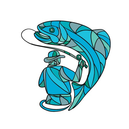 Mosaic style illustration of a fly fisherman catching reeling in a jumping trout on isolated background done in color. Illustration