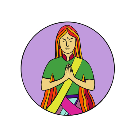 Mono line illustration of a young Indian woman pressing hands together with a smile to greet Namaste, a common cultural practice in India set inside circle done in monoline style. Çizim