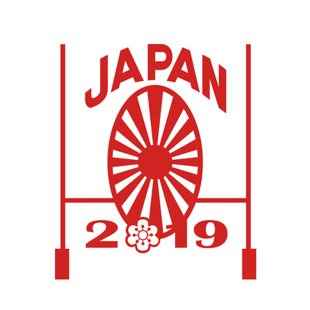 Icon retro style illustration of a rugby goal post and Japanese sakura and rising sun with words Japan 2019 on isolated background.